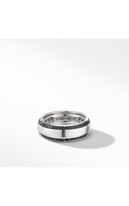 Beveled Band Ring in 18K White Gold with Black Diamonds product image