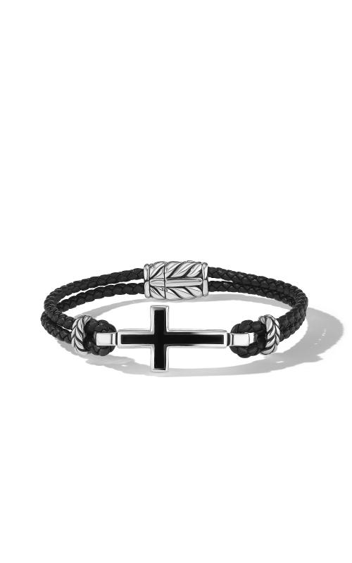Cross Station Leather Bracelet with Black Onyx product image