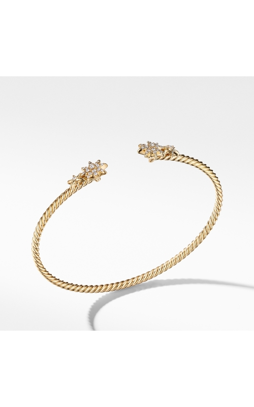 Petite Starburst Open Cable Bracelet in 18K Yellow Gold with Pavé Diamonds product image