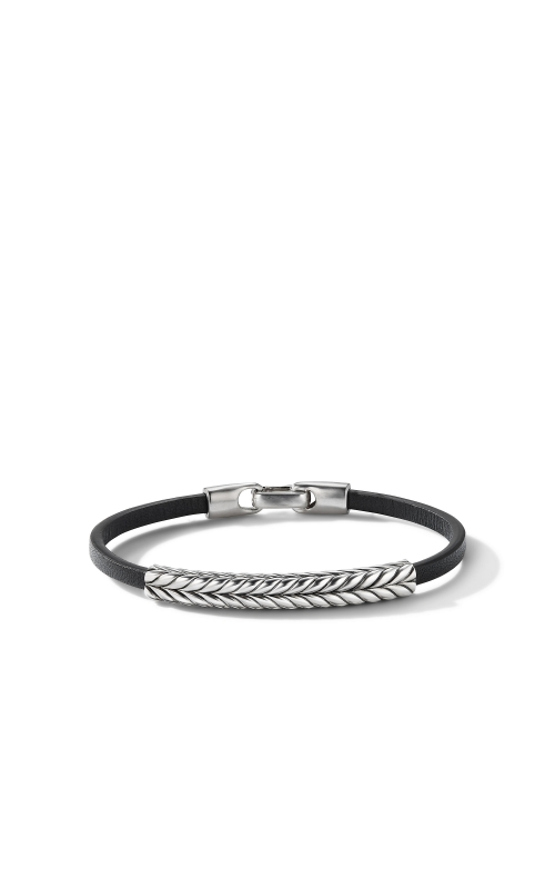 Chevron Black Leather ID Bracelet product image