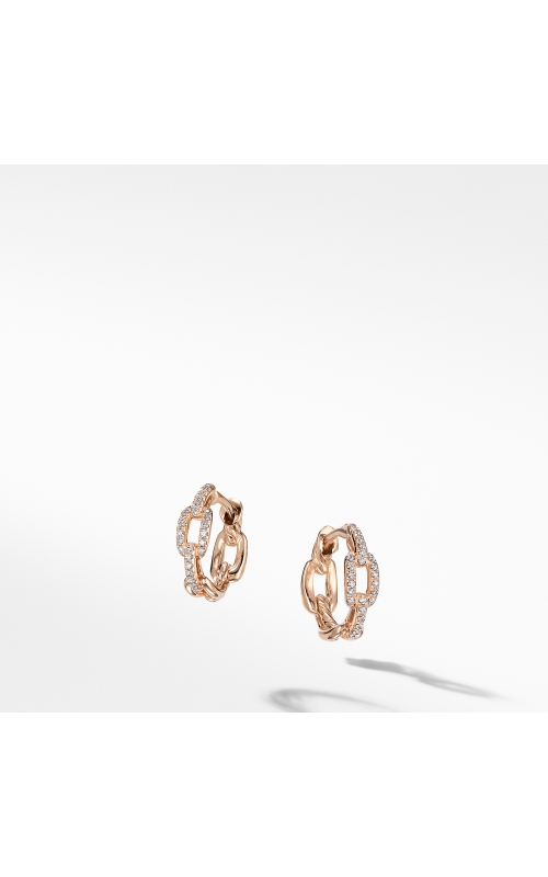 Stax Chain Link Huggie Hoop Earrings with Diamonds in 18K Rose Gold product image