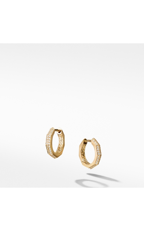 Stax Faceted Huggie Hoop Earrings with Diamonds in 18K Gold product image