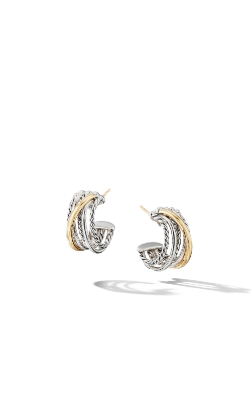 Crossover Huggie Hoop Earrings with 18K Yellow Gold product image