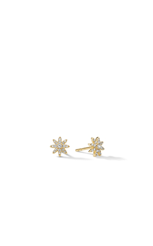 Petite Starburst Stud Earrings in 18K Yellow Gold with Pavé Diamonds product image