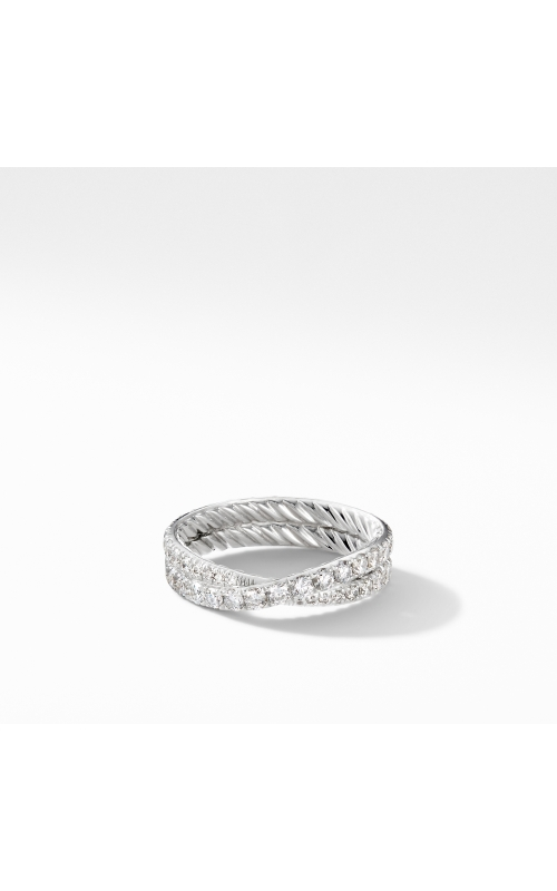 DY Crossover Band Ring in Platinum with Pavé Diamonds product image