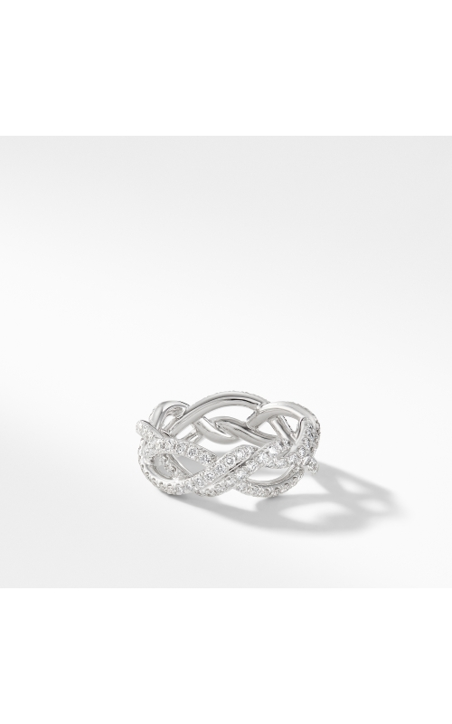 DY Wisteria Band Ring in Platinum with Pavé Diamonds product image