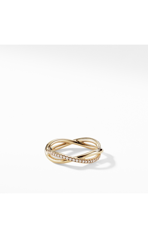 DY Lanai Band Ring in 18K Yellow Gold with Pavé Diamonds product image