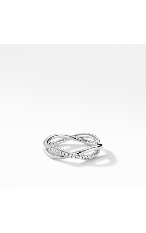 DY Lanai Band Ring in Platinum with Pavé Diamonds product image