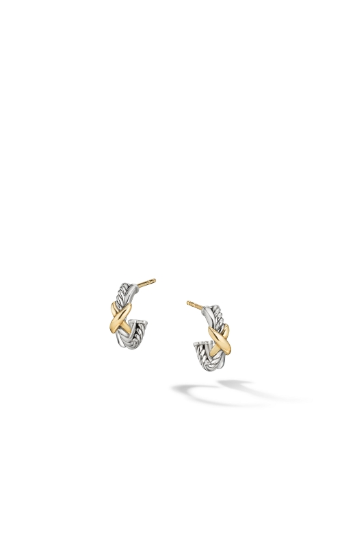 Petite X Mini Hoop Earrings with 18K Yellow Gold product image