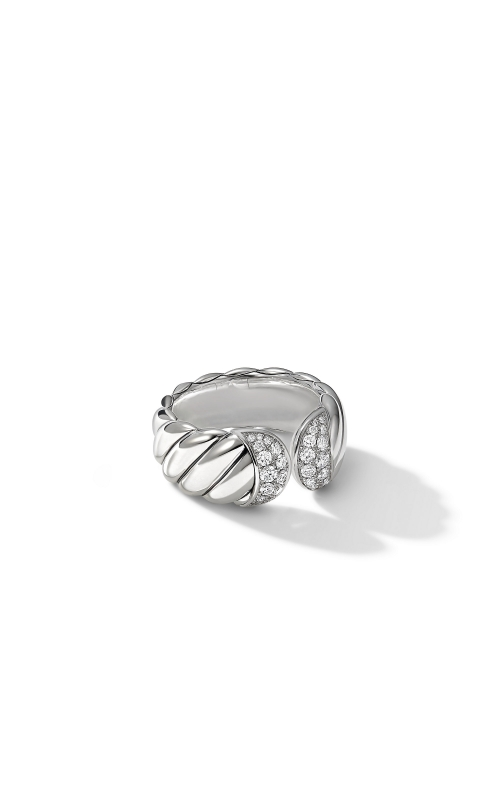 Sculpted Cable Ring with Pavé Diamonds product image