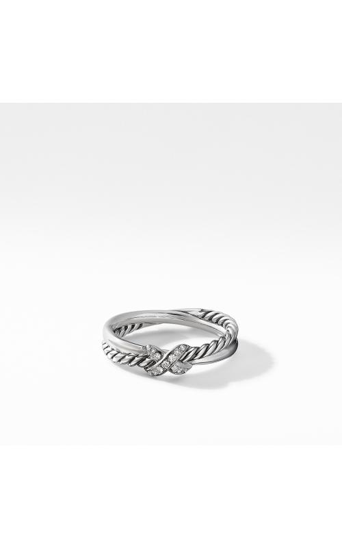 Petite X Ring with Pavé Diamonds product image